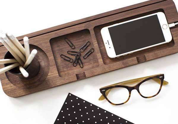 Handmade Platform 3 Wooden Desk Organizer
