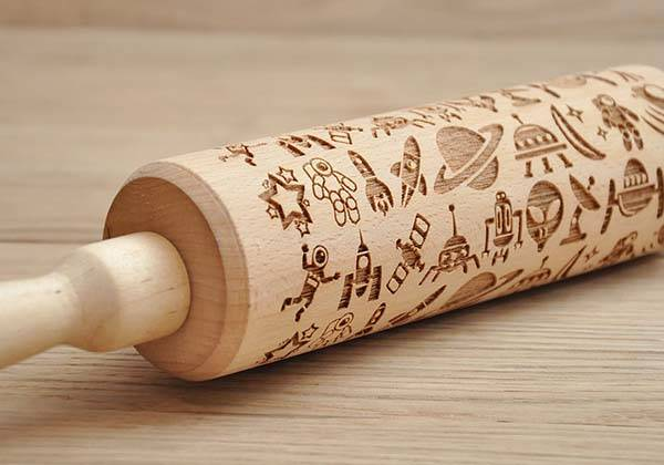 Handmade Space-Themed Engraved Rolling Pin