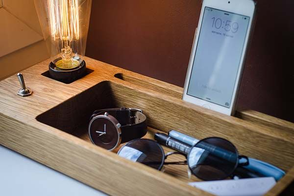 Handmade Docking Station with a Retro Edison Lamp
