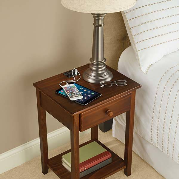 The Wooden Nightstand With Integrated Charging Station