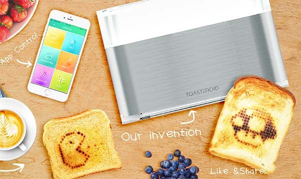 Toasteroid Smart Toaster Adds Personalized Patterns to Toasts by Smartphone
