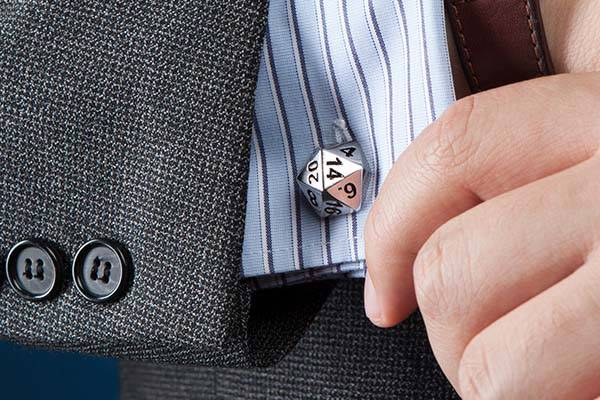d20 Dice Stainless Steel Cufflinks