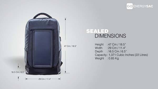 Energy Sac Backpack with GPS Tracker and Solar Panel