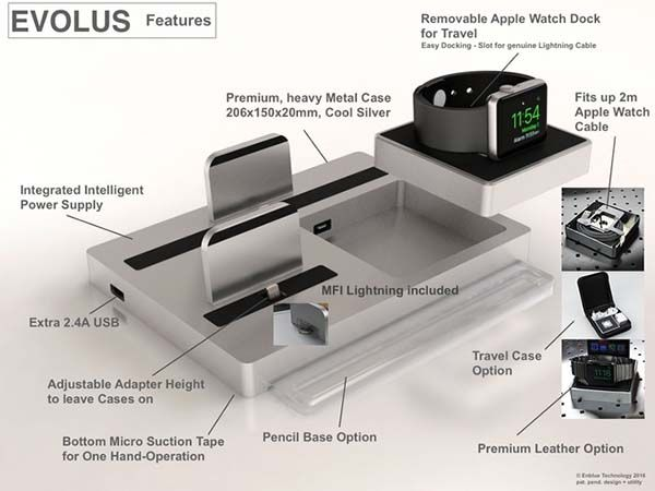 EVOLUS 3 Charging Station for iPhone, iPad and Apple Watch