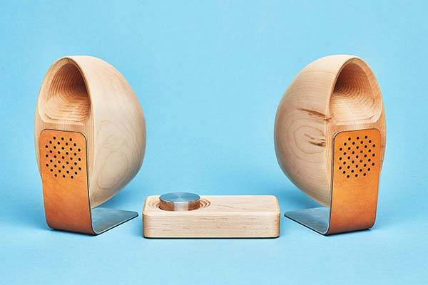 Grovemade Wooden Stereo Speaker System height=