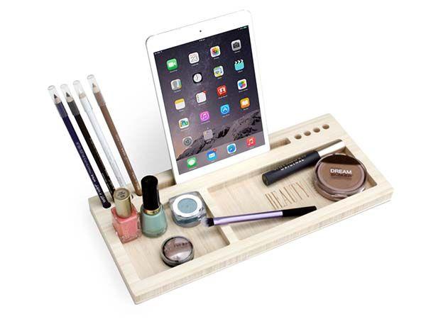 Handmade Bamboo Makeup Organizer with Phone Holder