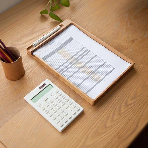 Handmade Wooden Document Tray with Pen Holder
