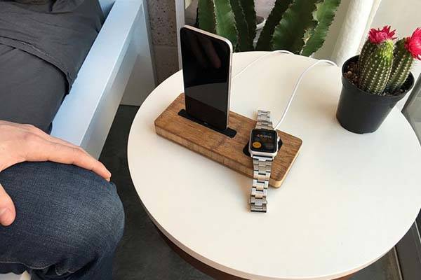 Handmade Wooden Charging Station for Apple Watch and iPhone