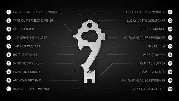 MSTR KEY Key-Sized 20-In-1 Multi-Tool