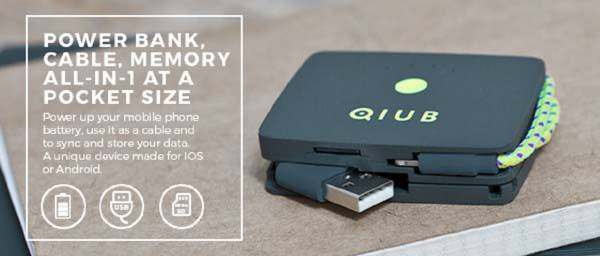 QIUB Power Bank with Charging Cable and MicroSD Card Reader
