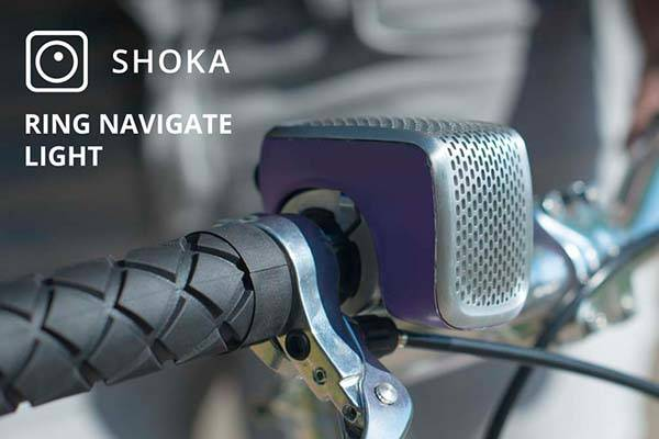 Shoka Bicycle Bell with Navigation Device, Front Light and Motion Alert
