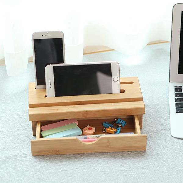 The Bamboo Desk Organizer with Phone Holder