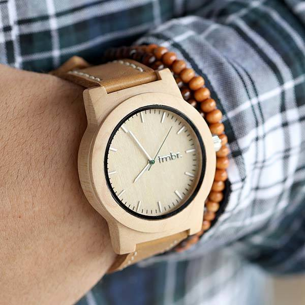 Tmbr Handmade Wood Analog Watch with Leather Strap