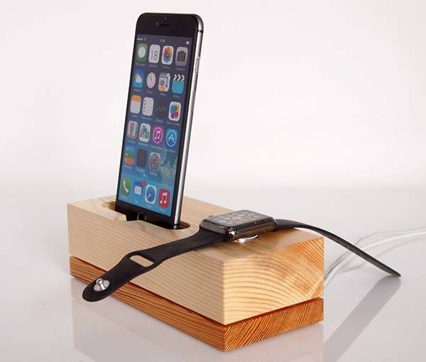 Handmade Wooden Charging Station for iPhone and Apple Watch