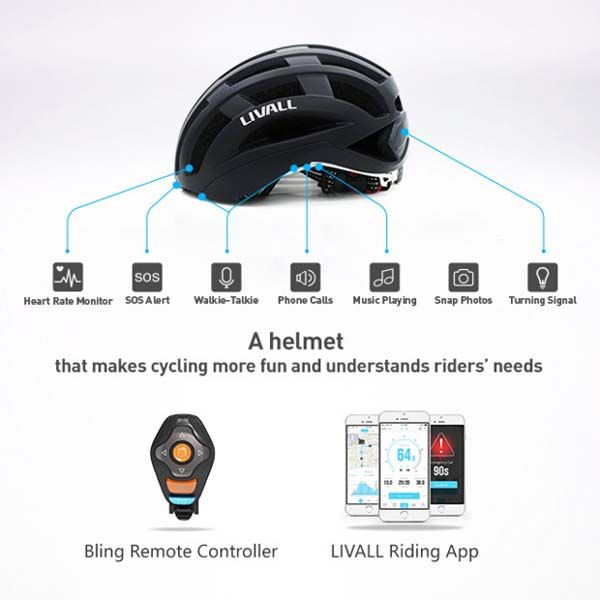 Livall Smart Cycling Helmet with Heart Rate Monitor