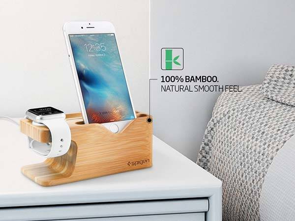 Spigen Bamboo iPhone and Apple Watch Charging Station