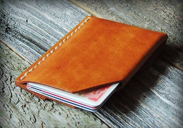 Handmade Minimal Leather Wallet is Customizable with Initials