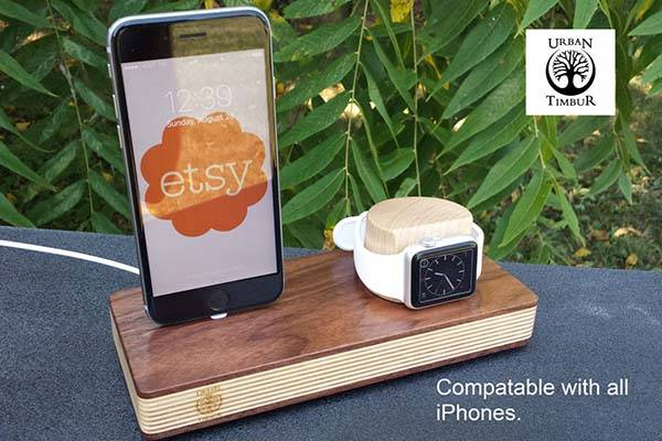Handmade Apple Watch and iPhone Charging Station