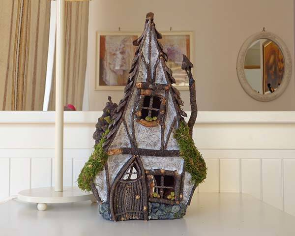Handmade Rustic Wooden Fairy House Candle Holder