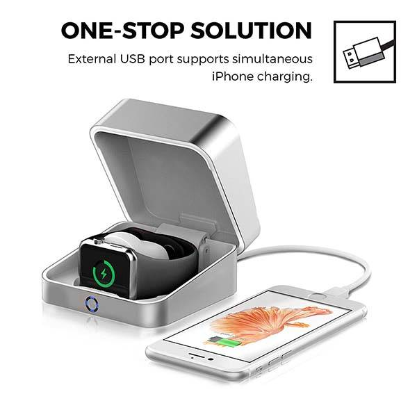 Power Box Aluminum Apple Watch Charger Case Doubles as Power Bank