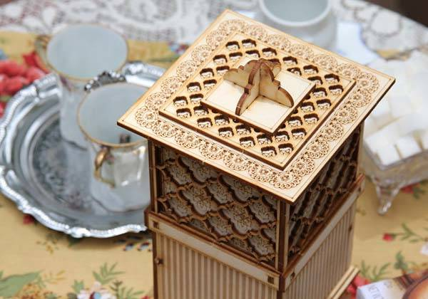 Handmade Wooden Tea Box with Cookie Jar