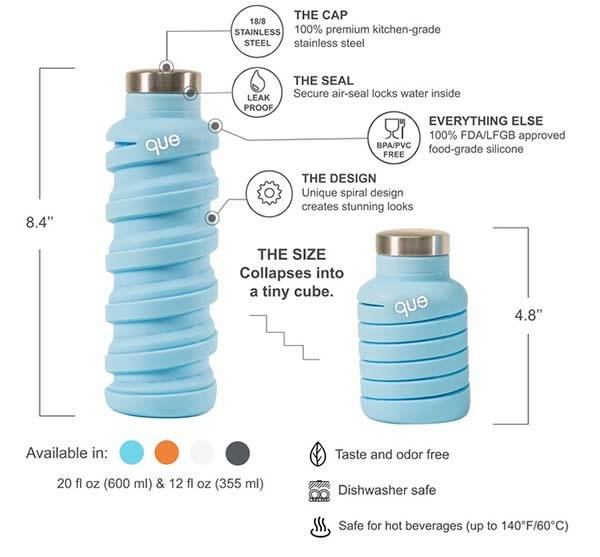 The que Collapsible Water Bottle