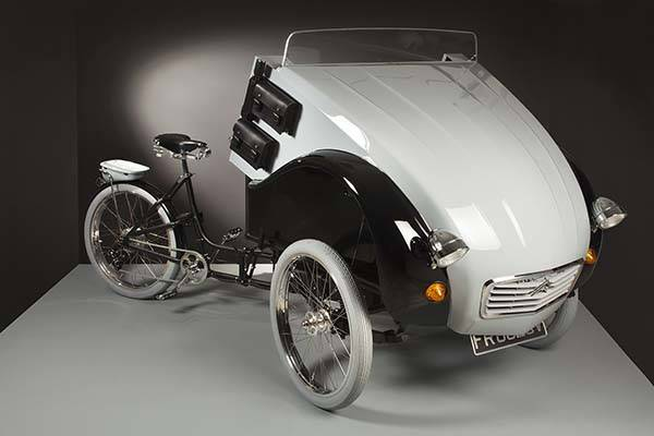 2CV Paris Electric Tricycle Inspired by Retro Citroën 2CV