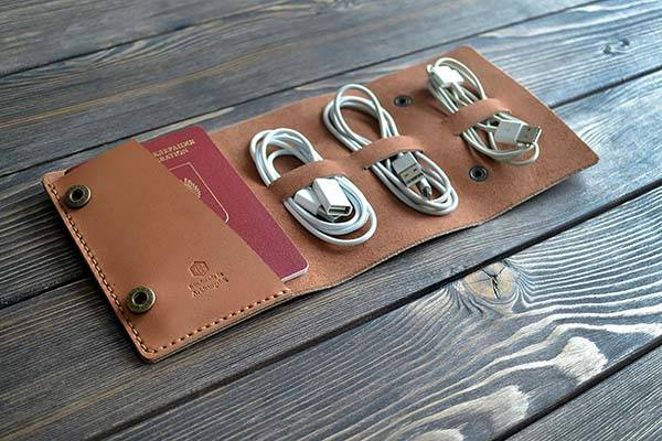 Handmade Leather Travel Cable Organizer with Passport Holder