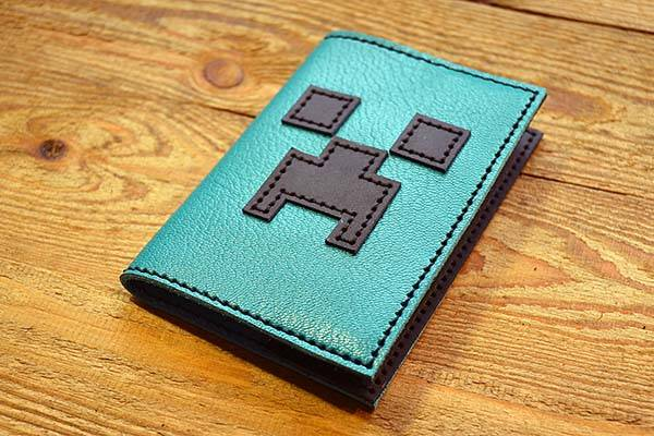 Handmade Minecraft Leather Passport Holder