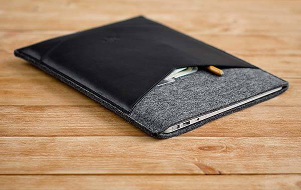 Handmade Wool Felt and Leather MacBook Case