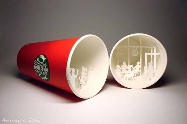 the awesome paper sculptures built in starbucks coffee cups