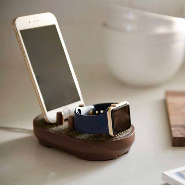 Colony Walnut Docking Station for iPhone, Apple Watch and iPad