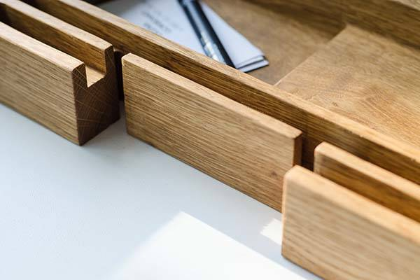 Handmade Wooden Desk Organizer with Docking Station
