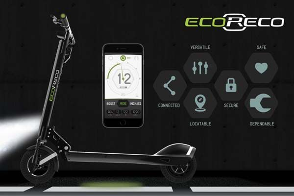 EcoReco Model R App-Enabled Foldable Electric Scooter