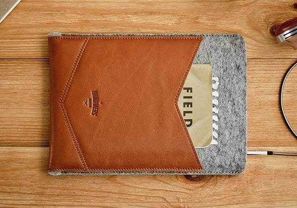 Handmade WELT Wool Felt and Leather iPad Case