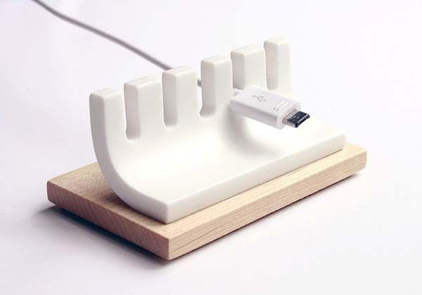 Handmade Wooden Minimal Desk Cable Organizer