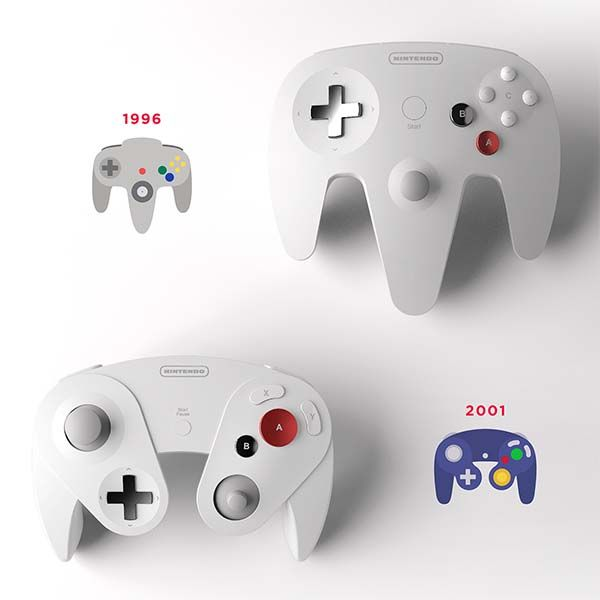 Nintendo Legends with Four Redesigned Classic Game Controllers