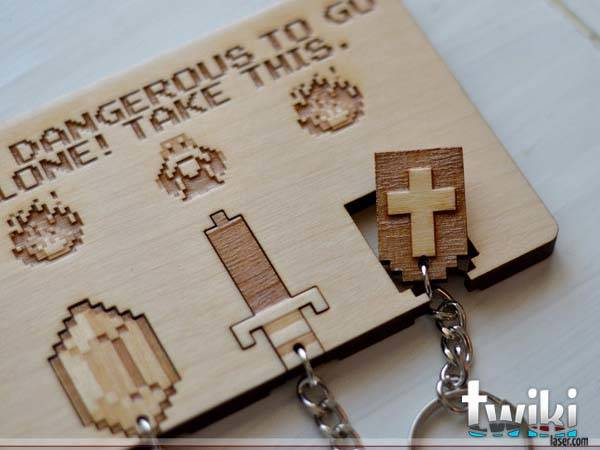 Handmade Legend of Zelda Wall Key Holder with Keychains