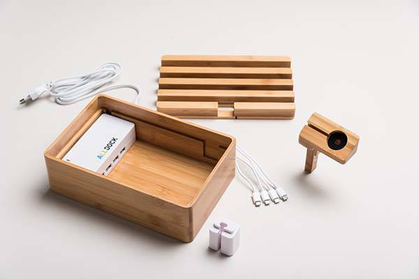 Alldock Bamboo Charging Station with Apple Watch Stand