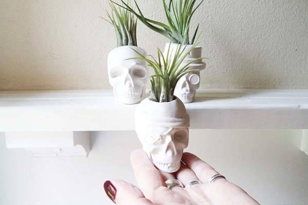 Handmade Skull Gypsum Mini Plant Pots