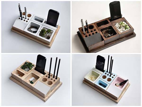 Handmade Wooden Desk Organizer with Phone Holder