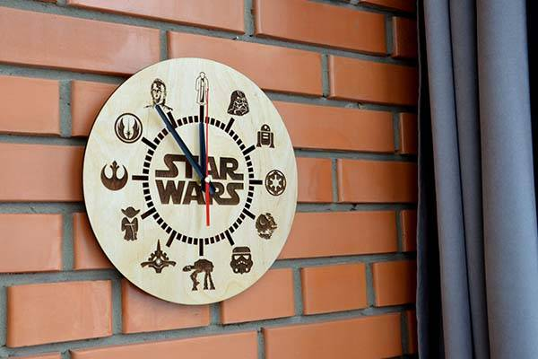 Handmade Star Wars Wooden Wall Clock