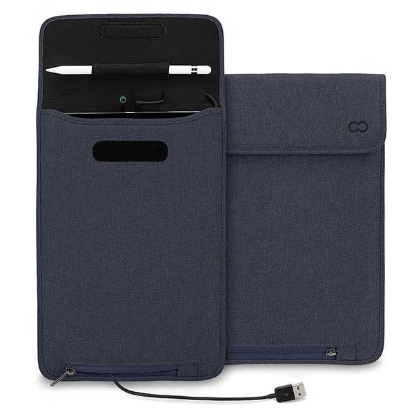 The Power Sleeve iPad Pro Case with Apple Pencil Holder and Angled Lightning Cable