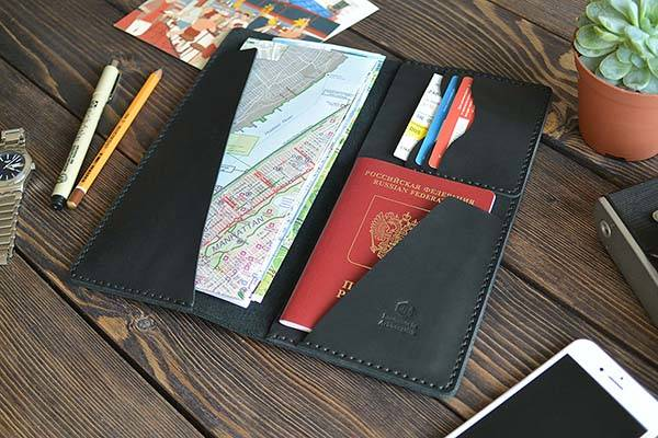 Handmade Customizable Leather Travel Wallet