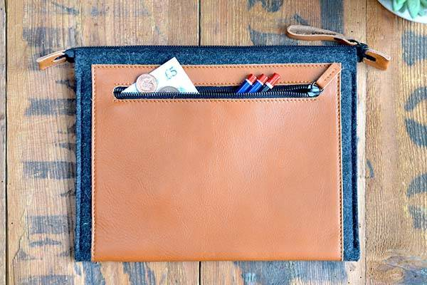 Handmade Zippered MacBook Case with Pockets