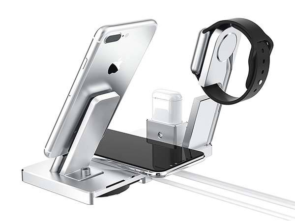 All-In-One Aluminum Wireless Charging Station for iPhone, AirPods and Apple Watch