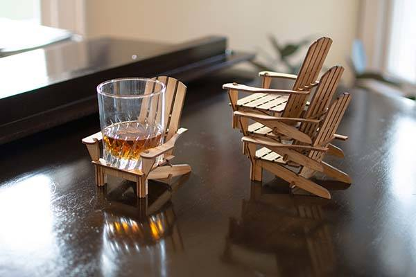 Adirondack Chair Bamboo Drink Coaster Set