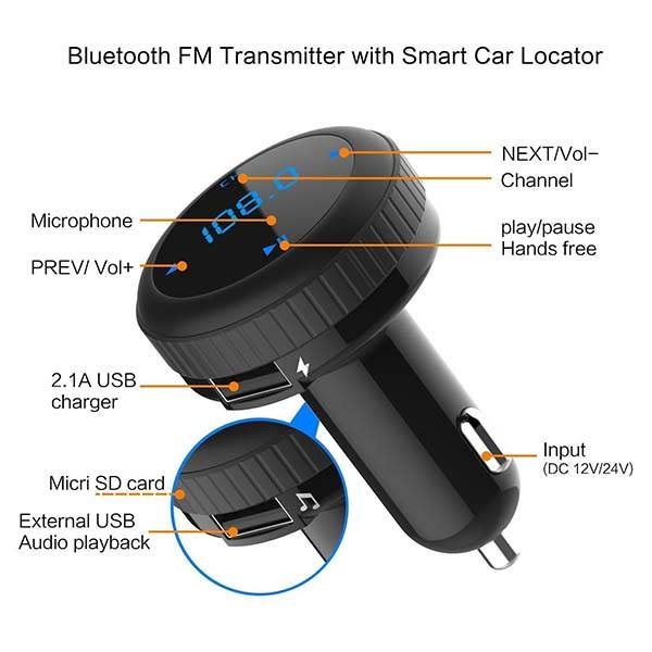 Bluetooth FM Transmitter with USB Car Charger and Smart Car Locator