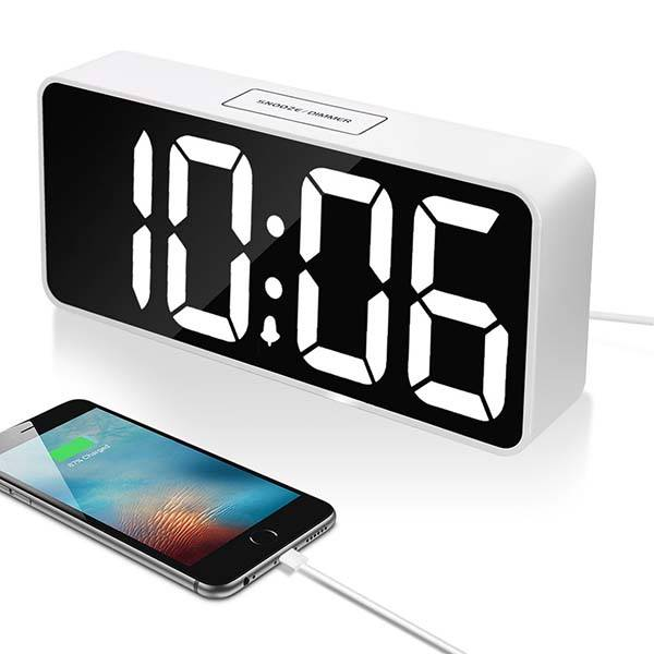 Digital Alarm Clock with 9-Inch LED Display and USB Ports