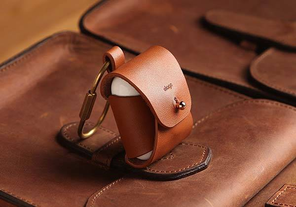 Elago AirPods Leather Case with Brass Ring Holder